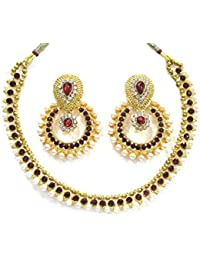 Shree Mauli Creation Maroon Alloy Maroon Stone Pearl Polki Necklace Set For Women SMCN202