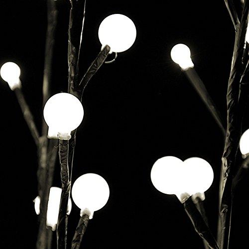 48 LED Lichterzweige Lichtfarbe warm weiß 3 Leuchtzweige mit je 90 cm Länge für Innen und Außen Weihnachtsbeleuchtung Weihnachtsdeko Lichterkette mit Dekokugeln - 2