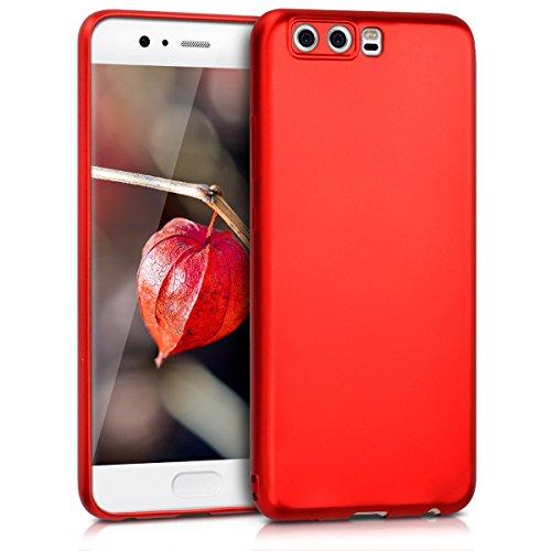 kwmobile Hülle für Huawei P10 - TPU Silikon Backcover Case Handy Schutzhülle - Cover Metallic Dunkelrot