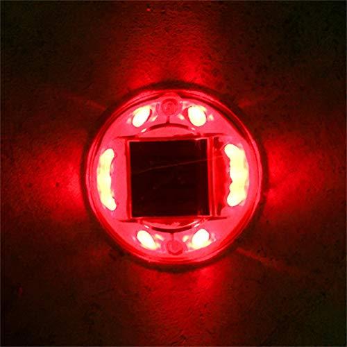 Solarleuchten Upgraded, Flimmern Fackel Lichter Outdoor Solar Strahler Landschaftsdekoration Beleuchtung Dämmerung,Solarenergie 10LED Round UFO Wasserdichte Spike Lane Wandleuchte im Freien (Red)