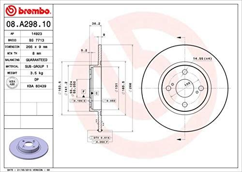 Disque de frein-Brembo 08.a298.10