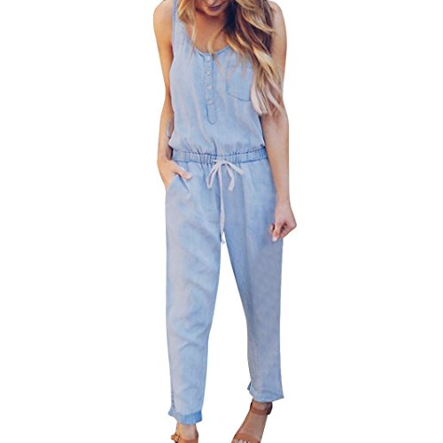 Anglewolf Womens Holiday Playsuit Jeans Demin Elastic Mid Waist Strappy Long Beach Jumpsuit Ladies Lovely Sexy Sleeveless Long Jumpsuits Comfy Playsuits with Pockets