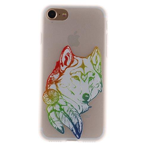 iPhone 7 Plus Hülle,TPU Silikon Defender für iPhone 7 Plus,Ekakashop Bunte Karte Muster Ultra dünn Slim Transparent Flexible Gel Crystal Klar Case Protective Schutzhülle Durchsichtig mit Niedliche Car Wolf