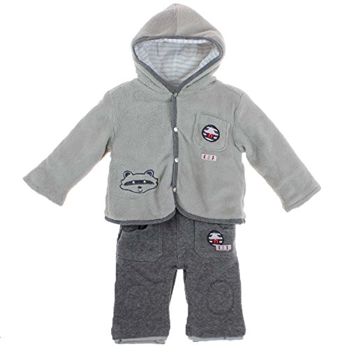 TOM KIDDY Baby Jungen 3tlg. Set Latzhose Hose Shirt langarm Jacke gefüttert grau (62/68)