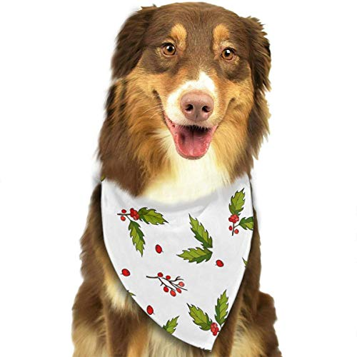 Sdltkhy Pet Bandana Christmas with Holly Berry Washable and Adjustable Triangle Bibs for Pet Cats and Puppies Holly Berry Designs