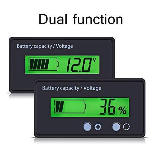 Battery Meter (Batteriekapazität Tester & Voltmeter mit LCD-Display Hintergrundbeleuchtung, Wasserdichte 12/24/36/48 V Bleisäure Batterieanzeige Spannungs Meter Monitor Detektor für Auto Fahrzeug)