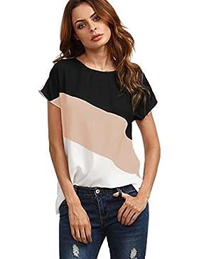 Yeamile💋💝 Camiseta de mujer Camiseta Causal Tops Negro Camisa Ocasionales Blusa Casual de Manga Corta de Gasa...