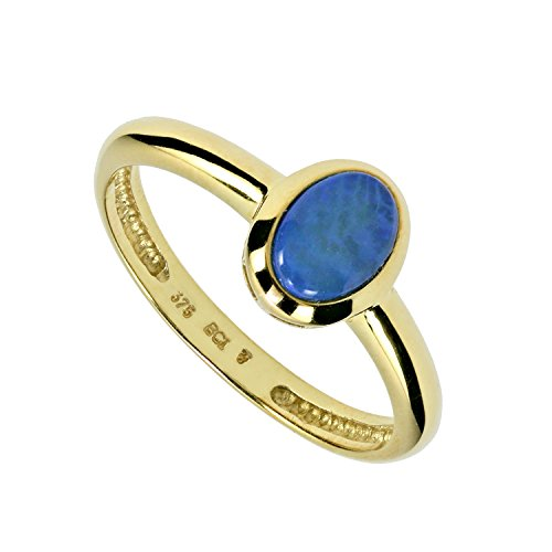 Terra Opalis Damen-Solitär-Ring echt Gold 375 (9 Karat) Kristallopal Opal blau 0,40ct RW18 (Echter Diamant Ringe Für Damen)