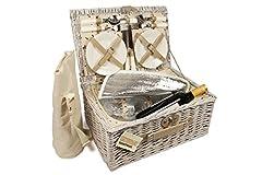 Idea Regalo - ELITEHOUSEWARES - Cestino da pic nic in vimini per 4 persone, con scompartimento frigorifero e borsa firgo per tenere al fresco le bottiglie
