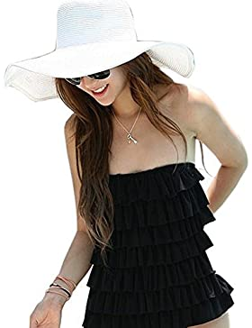 Fhouse Fashion Mujer Sombrero Pajita Plegable Parasol Bonito Gorro de Playa Colorido Gorro, Blanco, 1