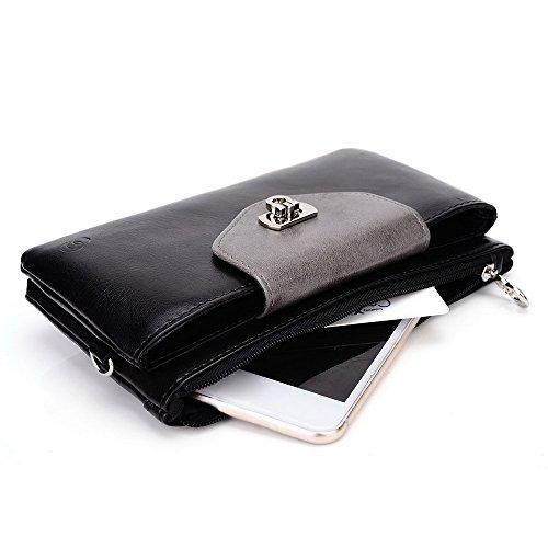 Kroo Lien de série universel femmes portefeuille Wristlet sac bandoulière compatible avec de nombreux 4à 12,7cm Étui pour Apple iPhone/Asus/Acer/Amazon/Téléphone portable Alcatel Multicolore - rose Multicolore - Noir/gris