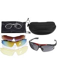 OUTERDO gafas de sol de ciclismo polarizadas. Gafas de sol UV protección de los ojos. Gafas 5Lentes para deportes al aire libre, correr, conducir, pesca, disparo.
