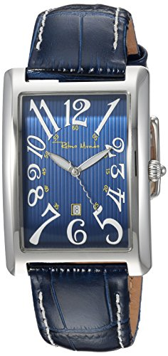 Ritmo Mundo Swiss Quartz Stainless Steel and Leather Casual Watch, Color:Blue (Model: 2622/3)