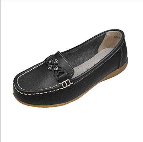 WJLMALL Minitoo donna sportiva in pelle scamosciata Comfort scarpe da guida esterna barca Mocassini Mocassini ( Color : Black , Size : UK4 )