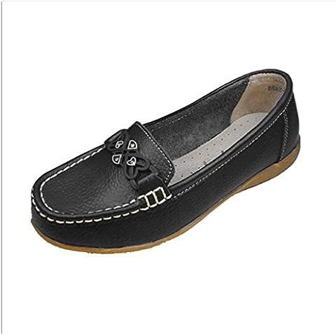 WJLMALL Minitoo donna sportiva in pelle scamosciata Comfort scarpe da guida esterna barca Mocassini Mocassini ( Color : Black , Size : UK6 )