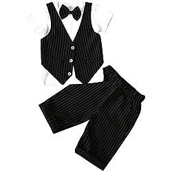Niño Manga Corta De Camisas Raya Chaleco Y Pantalones Cortos Set De 2 Piezas Negro 100CM