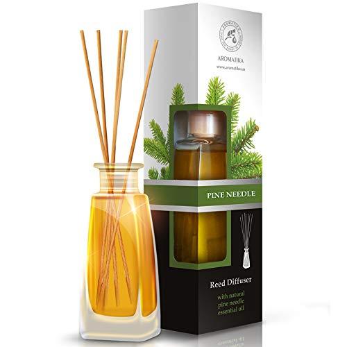 100ml Pine Air Freshener with Rattan Rods - with Natural Pine Pure Oil - Rod Diffuser for Pine for Rooms - Bathrooms - Homes - Offices - Boutiques - Aromatherapy Restaurants