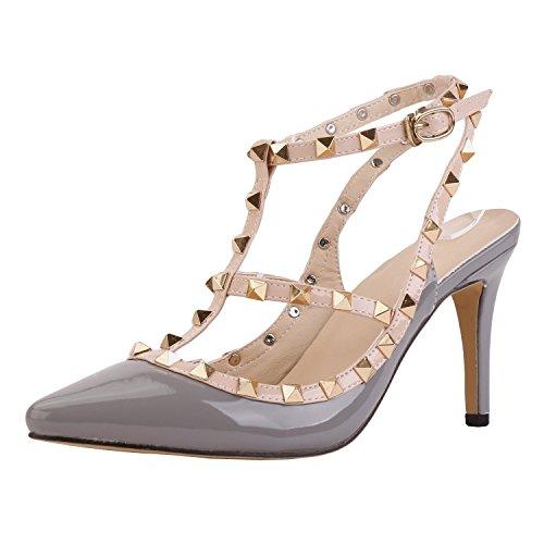 Arc-en-ciel Damenschuhe Schnalle spitzen Zehe High Heel Sandaletten besetzt Grau