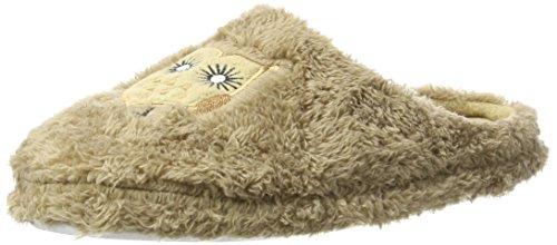 Brandsseller Trendige Hausschuhe Pantoffeln mit Eulen-Motiv für Damen - Farbe: Braun - Größe: 39/40