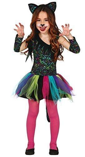 Mädchen Rainbow Leopard bunt Tutu Big Cat Karneval wildes Tier für Katzen Halloween Kostüm Kleid Outfit 3-12 Jahre - Mehrfarbig, 5-6 Years