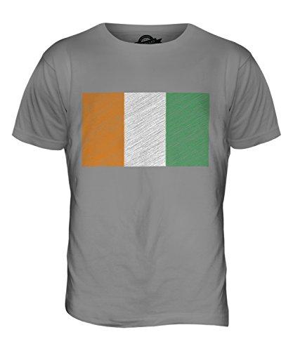 CandyMix Costa D'Avorio Bandiera Scarabocchio T-Shirt da Uomo Maglietta Grigio chiaro