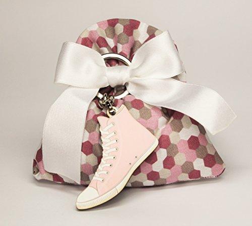 Bomboniera cresima/comunione sacchetto xl cm 11,5x h 12 fiocco bianco e portachiavi tipo converse ragazza colore rosa (per urgenze provare a contattare il venditore)