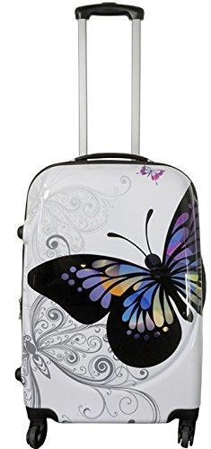 Koffer Reisekoffer Hartschalenkoffer Trolley Designer Kofferset Set 3 Butterfly mit Dehnfalte Gr. L | 60 Liter