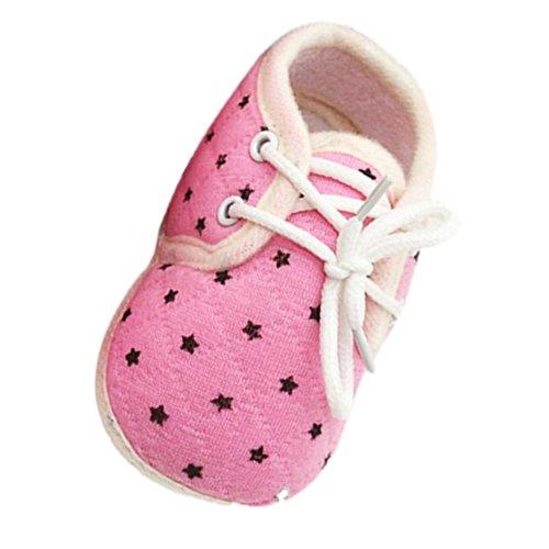 BZLine® Baby-Krippe Sterne gedruckten Kleinkind rutschfest weiche Babyschuhe Pink