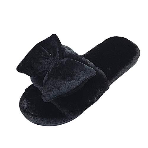 MYMYG Damen Winterschuhe Mode Winter Frauen Komfortable Warm Flat Home Offene Spitze Bogen Pelz Hausschuhe Schuhe Rutschfest Baumwolle Pantoffeln Slippers