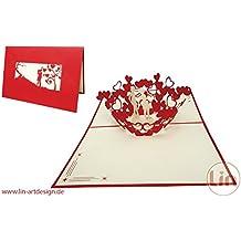 LIN-POP UP Karten Hochzeitskarten, Hochzeitseinladungen Valentinskarten 3D Karten Grußkarten Glückwunschkarten Liebe Hochzeit, küssendes Pärchen