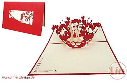 LIN - Pop Up 3D Biglietto di auguri per un matrimonio, Copia nel cuori (#62)