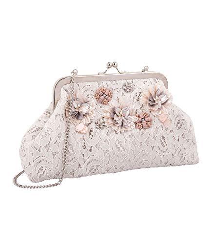 SIX kleine Handtasche mit crèmefarbener Spitze und zart rosa Pailletten Blumen mit Abnehmbarer Kette, Hochzeit, Party (726-759)