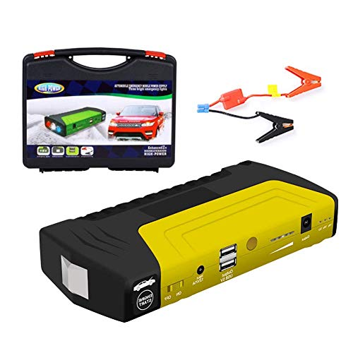 Auto Starthilfe, tragbare Auto Starter, wasserdicht 9000Mah 4USB EU / UK Stecker 4LED Auto Starter Notfall Batterie Booster mit digitalem Bildschirm - (Gelb) Batterie-booster-auto-starter
