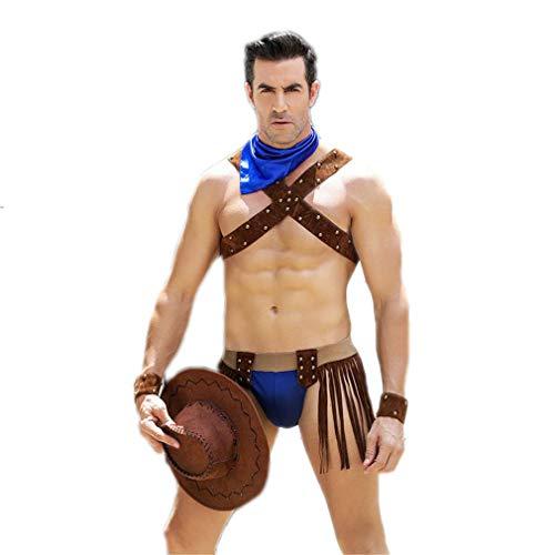 Cowboy Für Sexy Kostüm Erwachsene - LCWORD Erwachsene Männer Western Cowboy Cosplay Kostüme Herren Sexy Erotic Halloween Party Dress