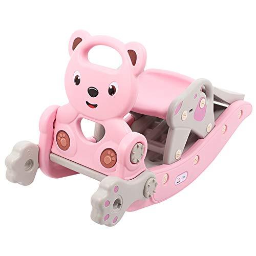Rocking horse baby 2 in 1 baby rocker e kid slide indoor-giocattolo di plastica per bambini all'aperto cavallo a dondolo di plastica per1-6 yaer baby,apink