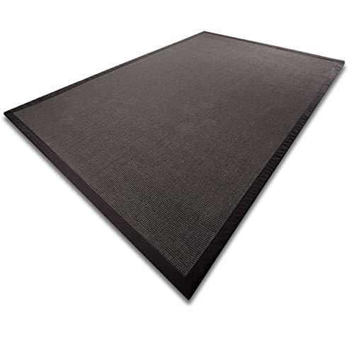 casa pura Sisal Teppich aus Naturfasern mit Bordüre aus Baumwolle | Pflegeleicht | Größe wählbar (Natur, 200 x 240 cm)