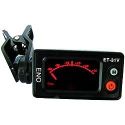 Eno ET31V Afinador con clip cromático para violín/violonchelo/contrabajo, color negro