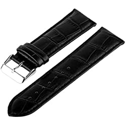 Marchel Croco LM45 Leather Watch Strap, Black, 24 mm