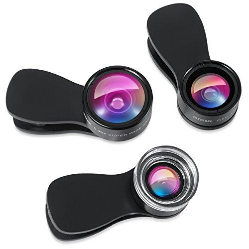 Amir Kit de lentes para cámara de smartphone, 3 en 1, diseño con pinza desmontable, lente macro 25 x + gran angular 0,36x + lente de ojo de pez, compatible con iPhone 7/6s/6s Plus, Samsung Galaxy, Note, Windows, etc.