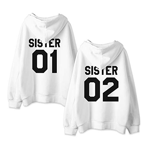 Und 1 Pullover (JWBBU Kapuzenpullis für Zwei Damen Freunde Sweatshirts Partner Look Pullover mit Kapuze Freundin Hoodie BFF Winter Pulli Freundschaft 2 stücke(Weiß+Weiß,sister-01-S+02-M))