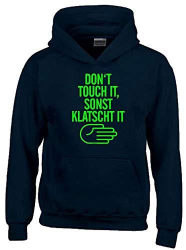 Dont Touch IT - SONST KLATSCH IT Hoodie Sweatshirt mit Kapuze schwarz-Green Gr.164 cm
