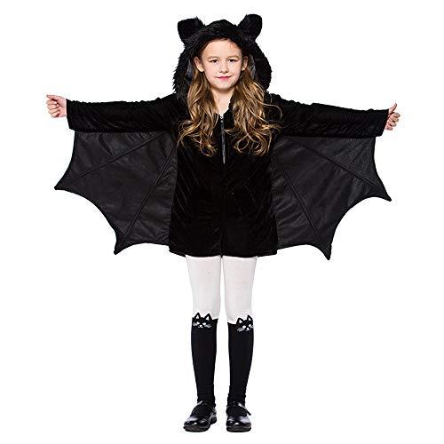Kleinkind Für Tanzabend Kostüm - Halloween Karneval Kostüm Cosplay Overall Kostüm Für Kinder Mädchen Fledermaus Kostüm Tanzkleid,Schwarz,XS