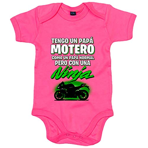 Body bebé tengo un papá motero moto Ninja silueta - Rosa, 6-12 meses