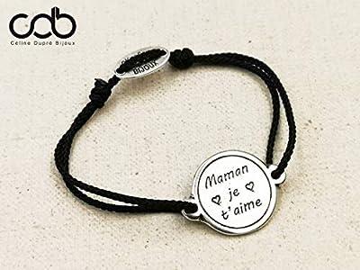 """Bracelet cordon tressé""""Maman je t'aime"""" ø18mm - étain finition argent 925"""