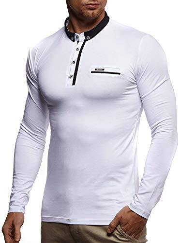 LEIF NELSON Herren Langarmshirt Poloshirt Slim Fit Baumwolle-Anteil   Basic Männer Longsleeve Pulli Sweatshirt Poloshirt   Schwarzer Pullover Sweater T-Shirt Langarm   LN4810 Weiß Small -
