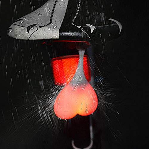VIKING GEAR® Rotes Blinklicht, Dauerlicht - LED Licht Wasserdicht Warnblinklicht aus Silikon in Hoden, Eier, Sack Design - Ideal für Rucksäcke, Reflektor - Reflektoren oder als lustiges Gadget in ROT
