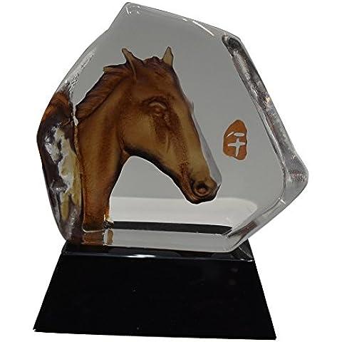 ACEVER 10,92 cm por cm 11,94 mano-grabado Escultura estatuilla de cristal, cabeza de caballo