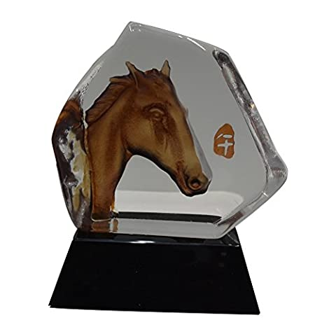 ACEVER® 4.3-inch by 4.7-inch Hand-etched Crystal Figurine Sculpture, Horse Head