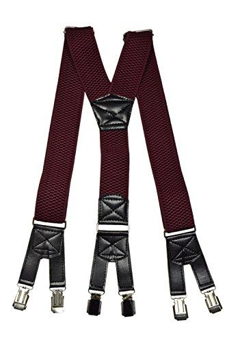 Hosenträger extra starken für Herren mit 6 Clips Y-Form - 4cm. Burgund Rot (Leder Burgund Schuhe)