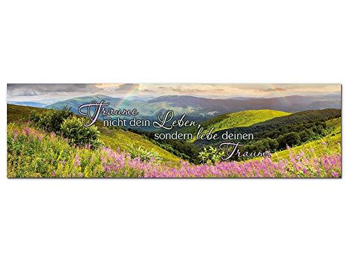 GRAZDesign Wandbilder mit Sprüchen, Acrylglasbild Panorama Natur Träume Nicht Dein Leben, lebe deinen Traum Spruch Zitat / 180x50cm